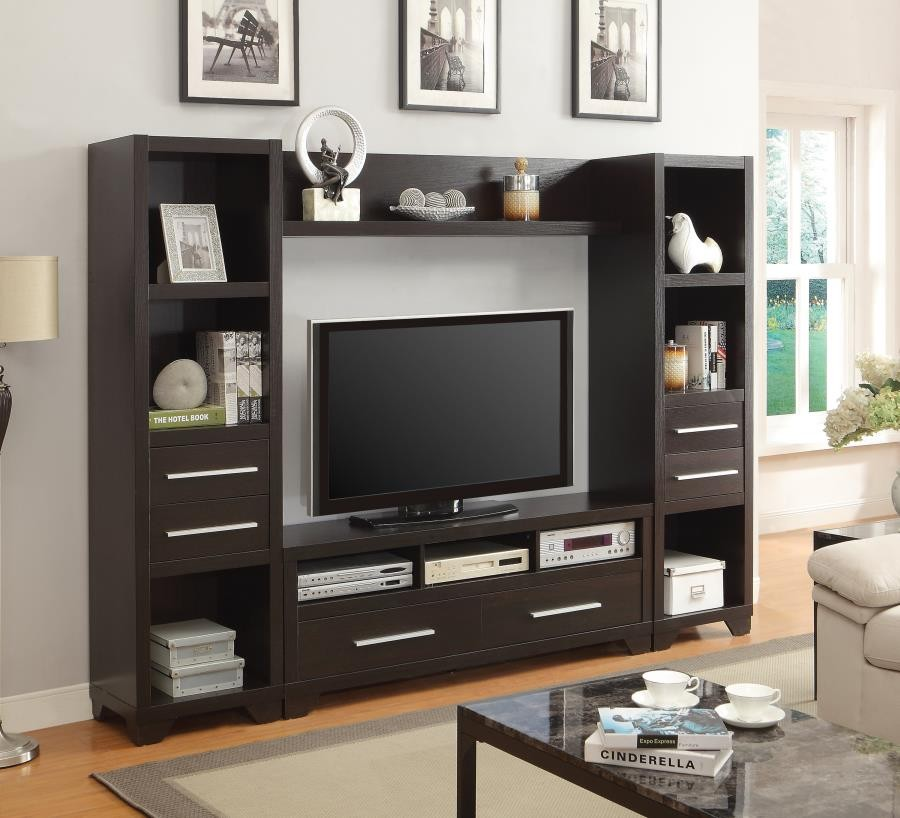 Living room tv consoles casual cappuccino tv console - Dresser as tv stand in living room ...