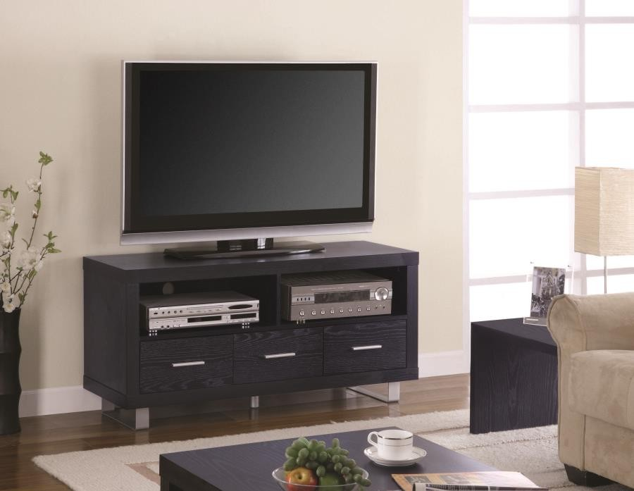 Living Room Tv Consoles Contemporary Black Oak Tv Console 700644 Tv Stands And Media Centers Midtown Outlet Home Furnishings