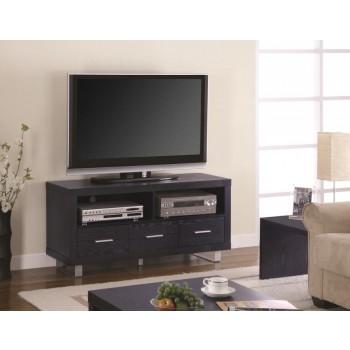 LIVING ROOM : TV CONSOLES - Contemporary Black Oak TV Console