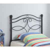 METAL HEADBOARD - Transitional Black Metal Twin Headboard