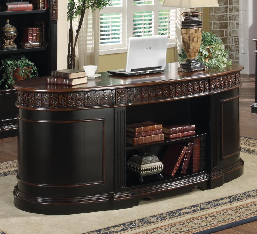 ROWAN COLLECTION   Rowan Traditional Black And Espresso Desk