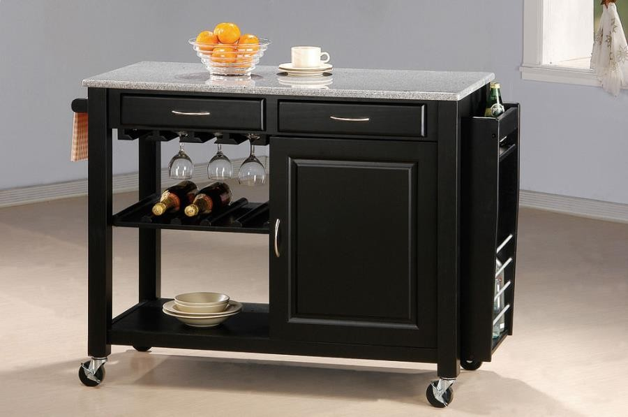 DINING: KITCHEN CARTS   Black Kitchen Cart With Granite Top