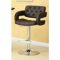 REC ROOM/BAR STOOLS: HEIGHT ADJUSTABLE - Contemporary Brown and Chrome Bar Stool