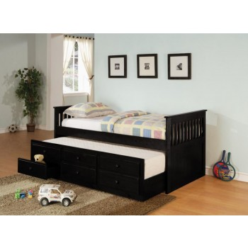 TWIN CAPTAIN'S BED WITH TRUNDLE - Transitional Black Twin Daybed