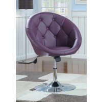 ACCENTS : CHAIRS - Transitional Purple and Chrome Swivel Chair