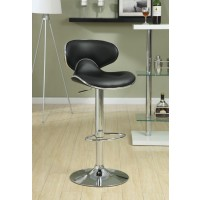 BAR UNITS: CONTEMPORARY - Contemporary Chrome and Black Adjustable Bar Stool  (Pack of 2)