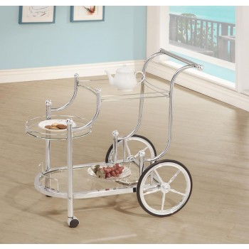 REC ROOM: SERVING CARTS - Traditional Chrome Serving Cart