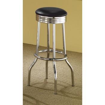 REC ROOM/ BAR TABLES: CHROME/GLASS - Cleveland Chrome Soda Fountain Bar Stool (Pack of 2)