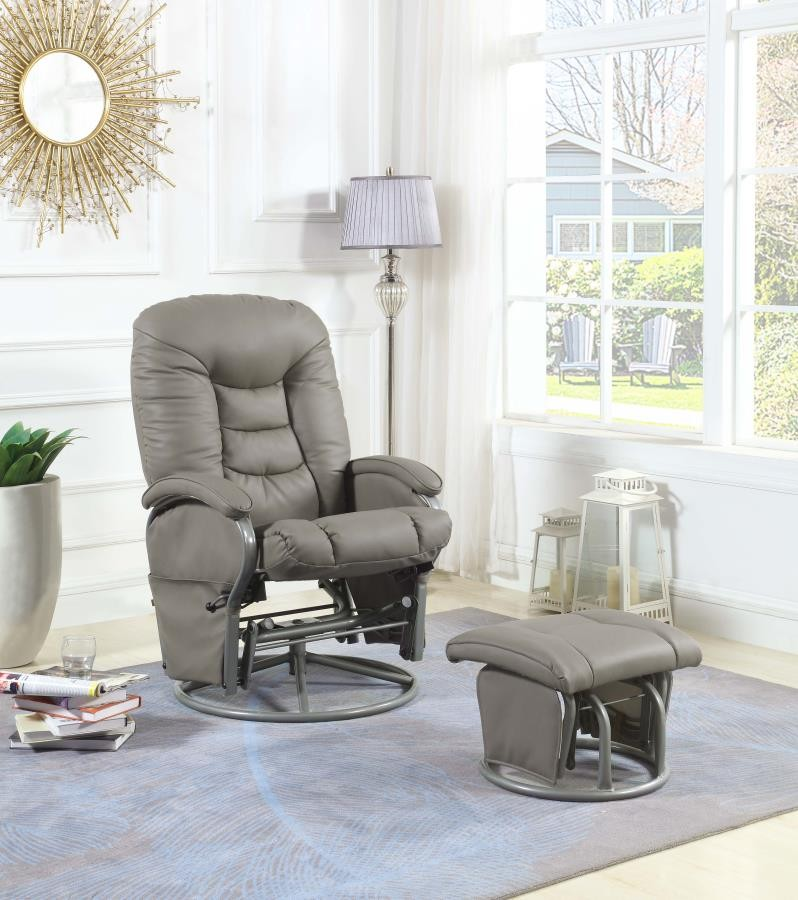 LIVING ROOM : GLIDERS - Casual Faux Leather Glider Recliner