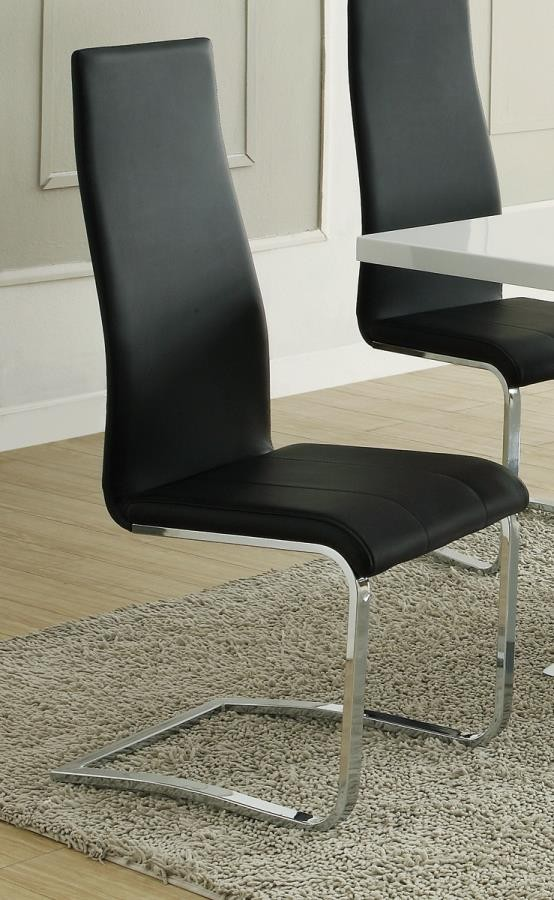 EVERYDAY DINING: SIDE CHAIR - Contemporary Black and Chrome Dining Chair (Pack of 4)