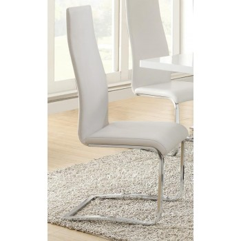 EVERYDAY DINING: SIDE CHAIR - Contemporary White and Chrome Dining Chair (Pack of 4)