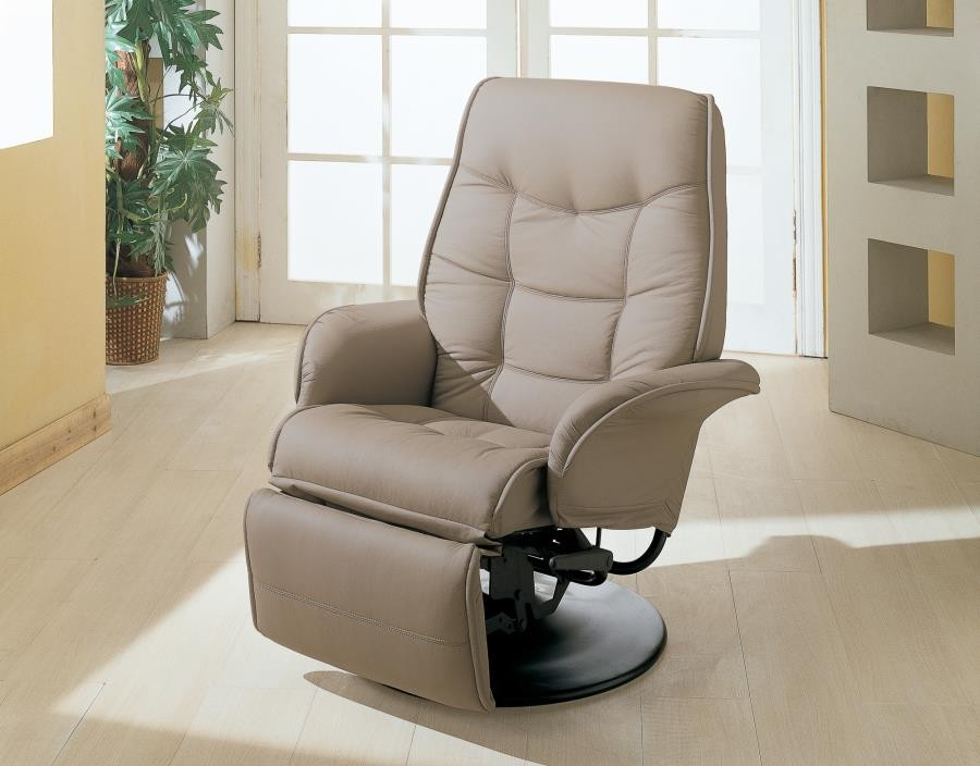 LIVING ROOM : RECLINERS - Berri Contemporary Beige Swivel Recliner