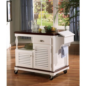 DINING: KITCHEN CARTS - Traditional White Kitchen Cart