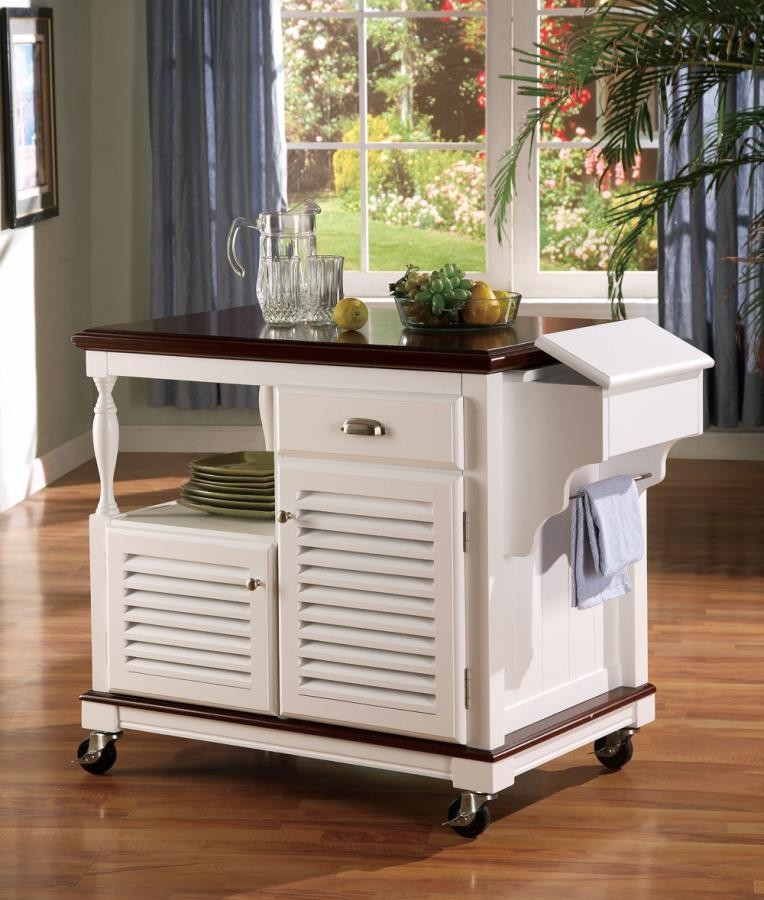 Dining Kitchen Carts Traditional White Kitchen Cart