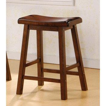 BAR STOOLS: WOOD FIXED HEIGHT - Transitional Chestnut Counter-Height Stool (Pack of 2)