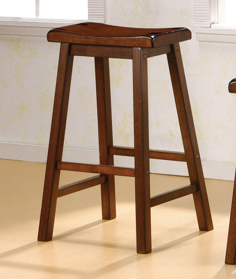 Bar Stools Wood Fixed Height Transitional Chestnut Bar