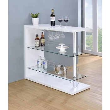 BAR UNITS: CONTEMPORARY - Two-Shelf Contemporary Bar Unit with Wine Holder