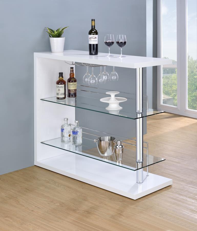Bar Units Contemporary Two Shelf Contemporary Bar Unit