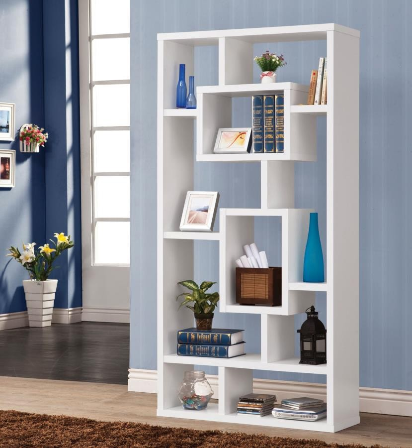 HOME OFFICE : BOOKCASES - Geometric Cube White Bookcase