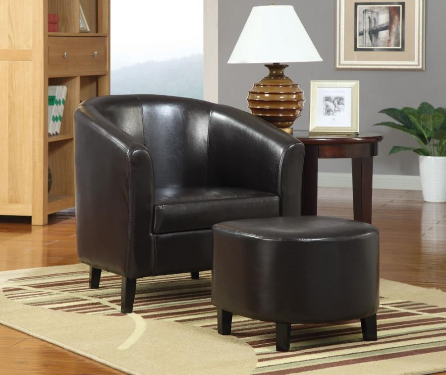 ACCENTS : CHAIRS - Leather Accent Chair and Ottoman
