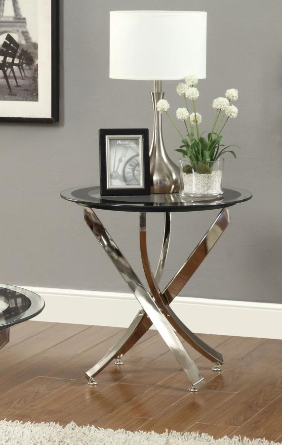 Norwood Sectional Glass Top Chrome End Table 702587
