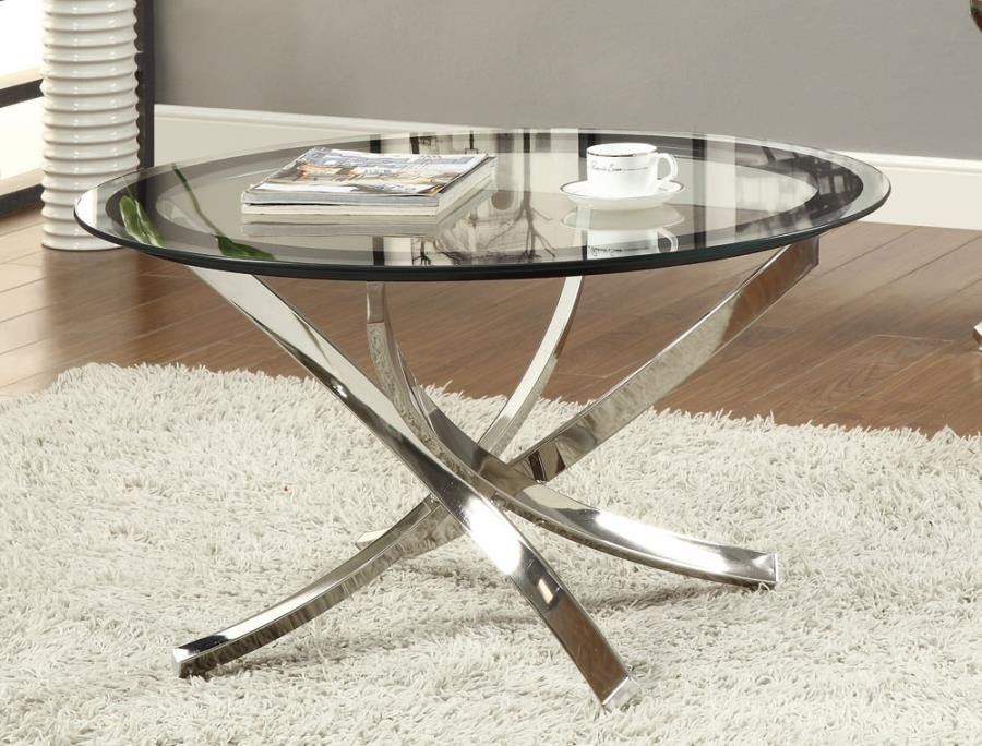Norwood Sectional Glass Top Chrome Coffee Table 702588