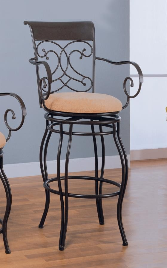 BAR STOOLS: METAL SWIVEL - Transitional Dark Brown Metal Bar Stool