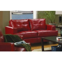 SAMUEL COLLECTION - Samuel Transitional Red Loveseat