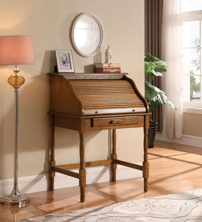 Warm Cherry Executive Desk Home Office Collection: Palmetto Warm Honey Roll Top Secretary