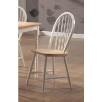 DINETTES: WOOD - Country Two-Tone Natural Wood Dining Chair  (Pack of 4)