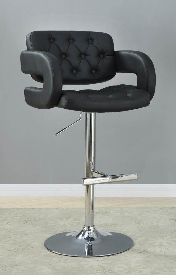 REC ROOM/BAR STOOLS: HEIGHT ADJUSTABLE   Contemporary Black Faux Leather  Adjustable Bar Stool