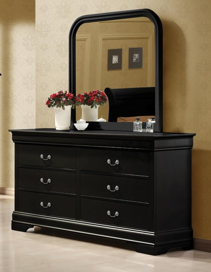 LOUIS PHILIPPE COLLECTION - Louis Philippe Black Square Dresser Mirror With Rounded Edges