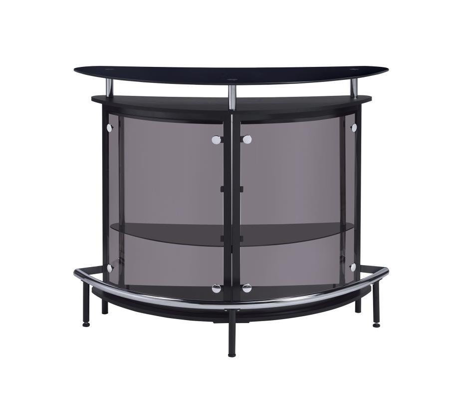 Bar Units Contemporary Contemporary Black Bar Unit With Tempered Glass 101065 Servers