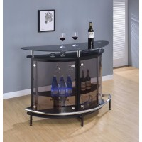 BAR UNITS: CONTEMPORARY - Contemporary Black Bar Unit with Tempered Glass