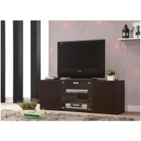 LIVING ROOM : TV CONSOLES - Casual Cappuccino TV Console With Push-To-Open Glass Doors