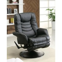 LIVING ROOM : RECLINERS - Casual Black Faux Leather Swivel Recliner