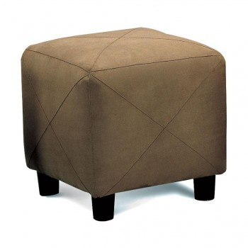 LIVING ROOM: GLASS TOP OCCASIONAL TABLES - Casual Mocha Ottoman