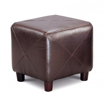 LIVING ROOM: GLASS TOP OCCASIONAL TABLES - Cube Ottoman Brown