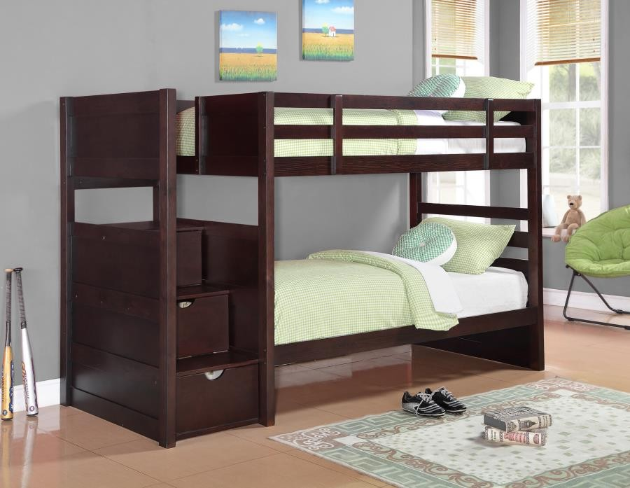 ELLIOTT BUNK BED - Elliott Transitional Cappuccino Twin-over-Twin Bunk Bed