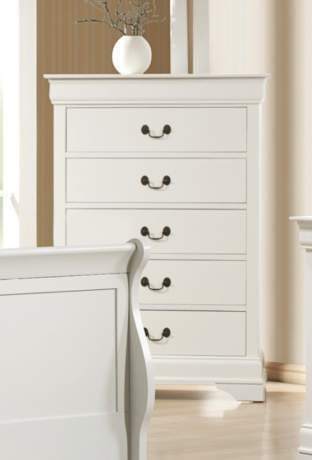 LOUIS PHILLIPE COLLECTION - Louis Philippe White Five-Drawer Chest