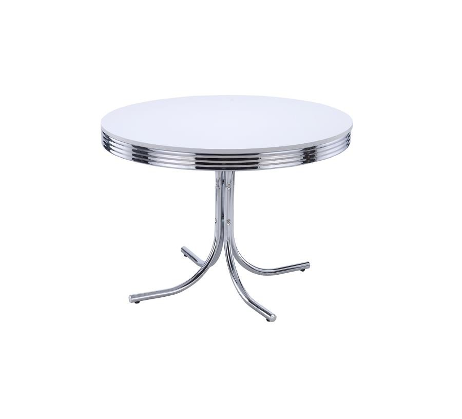 Retro Collection Retro White And Chrome Dining Table