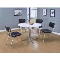 RETRO COLLECTION - Retro White and Chrome Dining Table