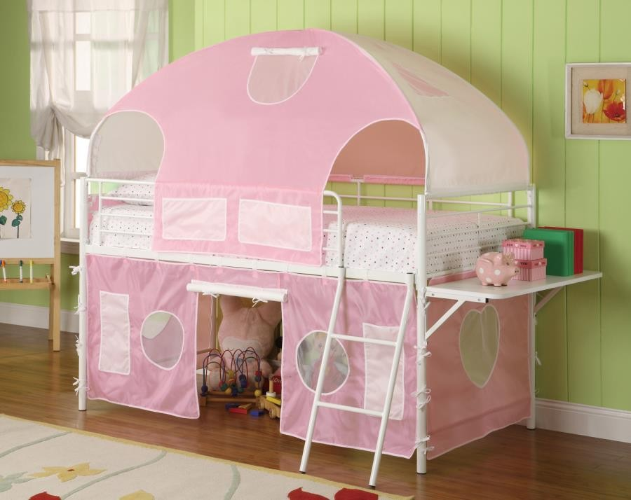 SWEETHEART TENT BED - White and Pink Tent Bunk Bed