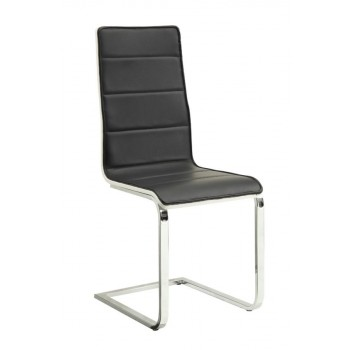 BRODERICK COLLECTION - Broderick Contemporary Chrome and Black Dining Chair  (Pack of 4)