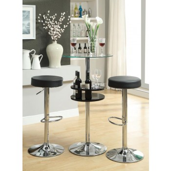 REC ROOM/ BAR TABLES: CHROME/GLASS - Contemporary Black Bar Table