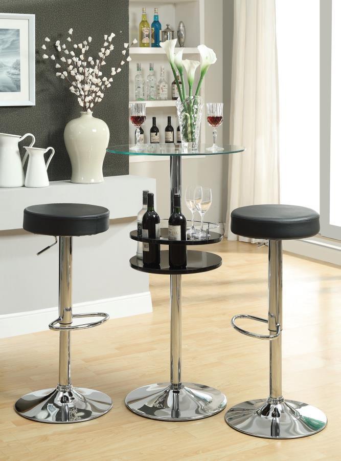 REC ROOM/ BAR TABLES: CHROME/GLASS - Contemporary Black Bar Table