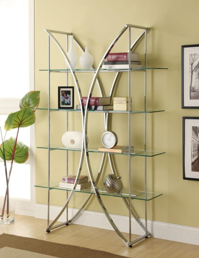 HOME OFFICE : BOOKCASES - Contemporary Chrome and Glass Bookcase