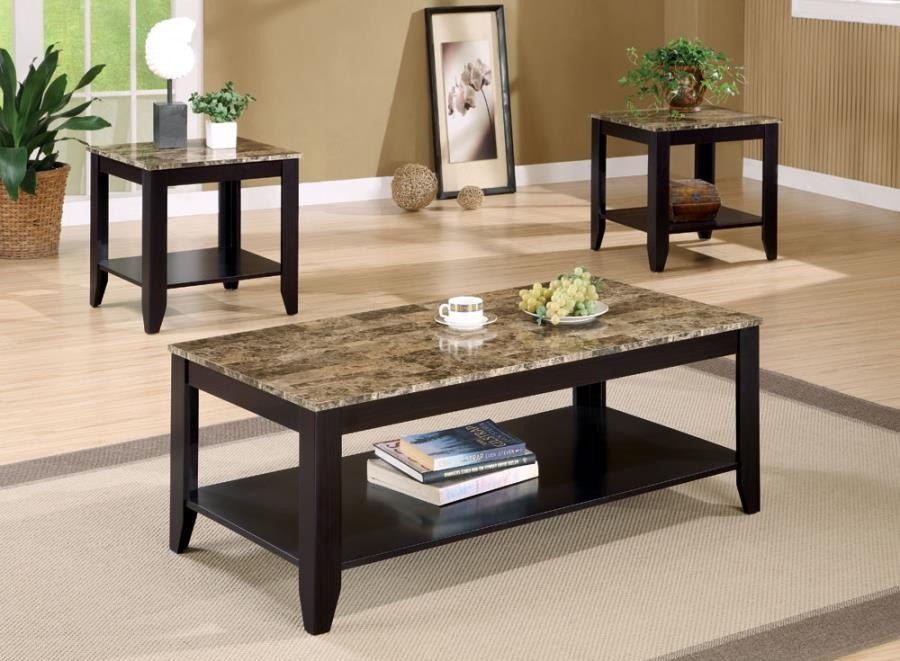 LIVING ROOM : OCCASIONAL SETS - Transitional Marble Look Top Three-Piece Table Set