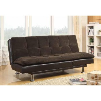 LIVING ROOM : SOFA BEDS - Contemporary Overstuffed Brown and Chrome Sofa Bed