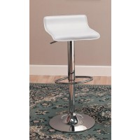 BAR STOOLS: HEIGHT ADJUSTABLE - Contemporary White Adjustable Bar Stool (Pack of 2)